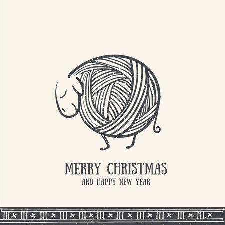 Hand drawn christmas greeting card with cute knitting sheep. Merry Christmas retro invitation