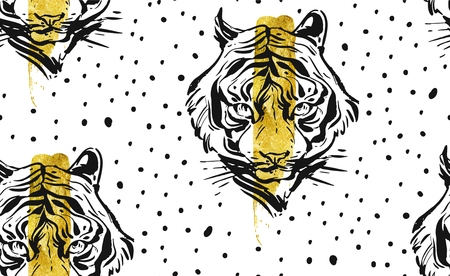 Hand drawn vector abstract creative seamless pattern with tiger face illustration,golden foil and polka dots texture isolated on white background.Design for fashion fabric,decoration,wrapping,business