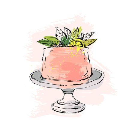 Ilustración de Hand drawn vector abstract watercolor textured cake on cake stand with lemon,flowers and leaves in peach colors isolated on white background.Wedding, art,anniversary,birthday,save the date,cake shop - Imagen libre de derechos