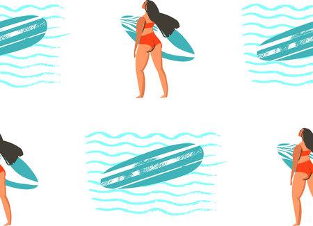 Foto für Surfing illustration in vector. Girl surfers in bikini seamless pattern in vector. - Lizenzfreies Bild