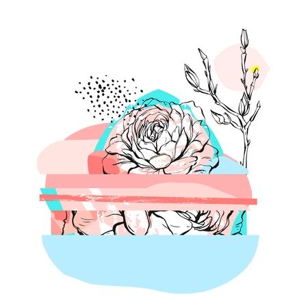 Ilustración de Hand drawn vector abstract creative unusual illustration with graphic peony flower in pastel colors.Hand made drawing textures.Wedding,anniversary,birthday,party invitations,greeting,sign,logo - Imagen libre de derechos