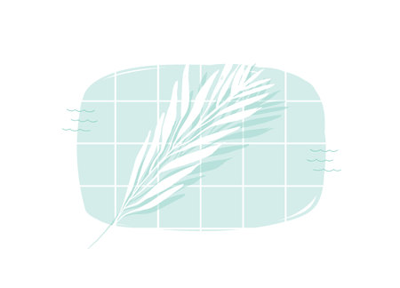 Illustration pour Hand drawn vector abstract cartoon summer time swimming pool top view cartoon illustration with tropical palm leaves isolated on white background - image libre de droit
