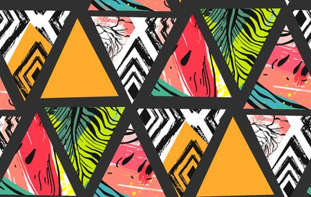 Ilustración de Hand drawn vector abstract unusual summer time decoration collage seamless pattern with watermelon,aztec and tropical palm leaves motif isolated. - Imagen libre de derechos