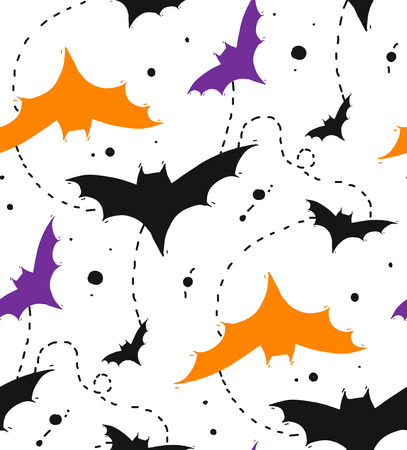 Illustration pour Hand drawn Seamless Halloween vector pattern with colors bats isolated on white background. - image libre de droit