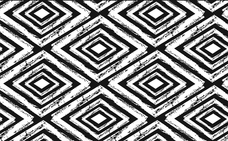 Illustration for Hand drawn seamless tribal pattern in black and cream. - Royalty Free Image
