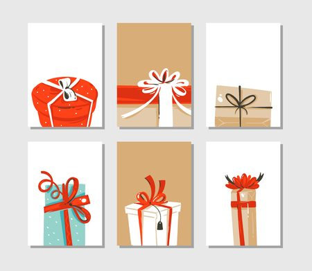 Illustration pour Cute illustrations of surprise gift boxes isolated on craft paper background. - image libre de droit