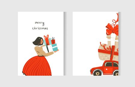 Illustration pour Hand drawn vector abstract fun Merry Christmas time cartoon cards collection set with cute illustrations and surprise gift boxes isolated on white background. - image libre de droit
