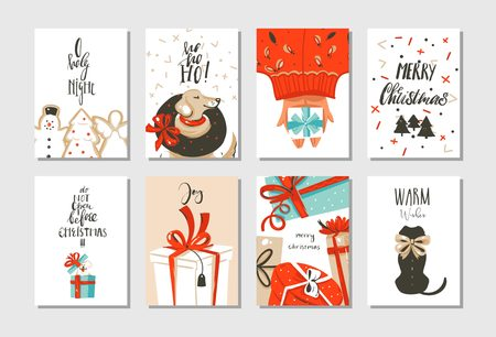 Illustration pour Hand drawn abstract fun Merry Christmas time cartoon cards collection set with cute illustrations. - image libre de droit