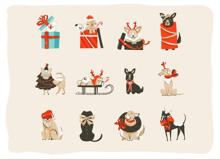 Ilustración de Hand drawn vector abstract fun Merry Christmas time cartoon icons illustrations collection set with mammal happy dogs in holidays xmas tree costumes isolated on white background - Imagen libre de derechos
