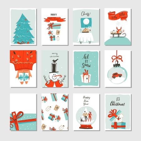 Illustration pour Hand drawn vector abstract fun Merry Christmas time cartoon cards collection set with cute illustrations,surprise gift boxes ,Xmas tree and modern calligraphy isolated on white background - image libre de droit