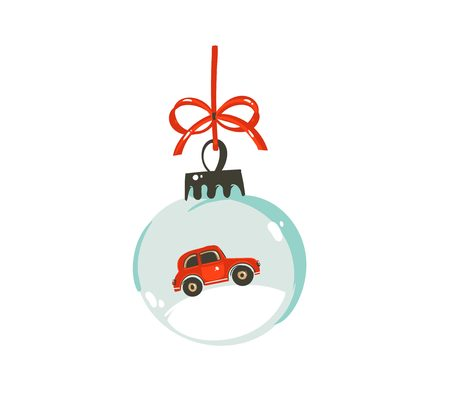 Illustration for Hand drawn vector Merry Christmas time cartoon graphic illustration design element with glass snow globe ball with red car isolated on white background - Royalty Free Image