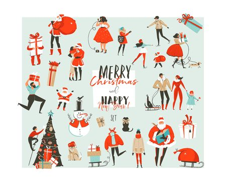 Illustration for Hand drawn vector abstract Merry Christmas and Happy New Year time big cartoon illustrations collection set design elements with Santa Claus,people,xmas tree and dog isolated on white background - Royalty Free Image