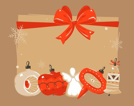 Illustration pour Hand drawn vector abstract Merry Christmas and Happy New Year time cartoon illustrations greeting header template with xmas tree bauble toys and place for your text isolated on brown background - image libre de droit