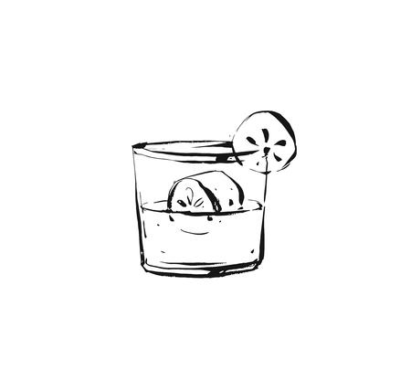 Ilustración de Hand drawn vector abstract graphic artistic cooking ink sketch illustration drawing of cocktail drink in glass isolated on white background. - Imagen libre de derechos