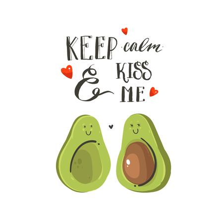 Ilustración de Hand drawn vector abstract cartoon Happy Valentines day illustrations card with avocado couple, hearts and handwritten modern ink calligraphy text keep calm and kiss me. Isolated on white background. - Imagen libre de derechos