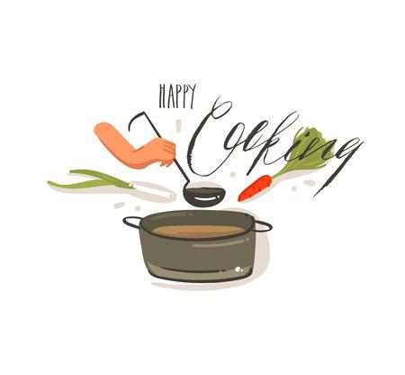 Illustration pour Hand drawn vector abstract cartoon cooking illustrations label with big pan of cream soup,vegetables and woman hands holding scoop isolated on white background.Happy cooking handwritten calligraphy - image libre de droit