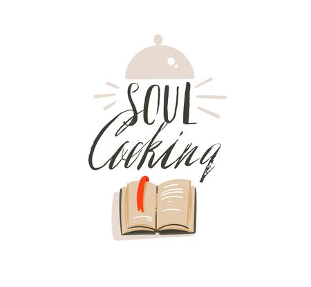 Illustration for Hand drawn vector abstract modern cartoon cooking time fun illustrations icons lettering logo design with cooking equipment,cook book and Soul cooking calligraphy isolated on white background. - Royalty Free Image