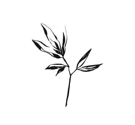 Illustration pour Hand drawn vector abstract artistic ink textured graphic sketch drawing illustration of rustic spring flower leaves branch plant isolated on white background - image libre de droit