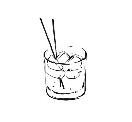 Ilustración de Hand drawn vector abstract graphic artistic cooking ink sketch illustration drawing of alcohol cocktail drink in glass isolated on white background. - Imagen libre de derechos
