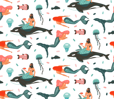 Ilustración de Hand drawn vector abstract cartoon graphic summer time underwater illustrations. Seamless pattern with killer whale, jellyfish and beauty bohemian mermaid girls characters. - Imagen libre de derechos