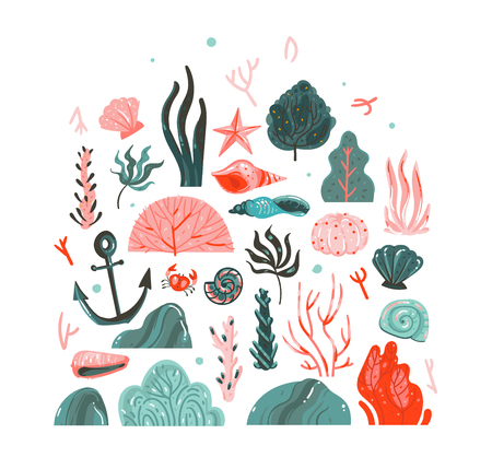 Illustration pour Hand drawn vector abstract cartoon graphic summer time underwater illustrations art collection set with coral reefs,seaweeds,starfish,crab,anchor,stones and sea shells isolated on white background - image libre de droit
