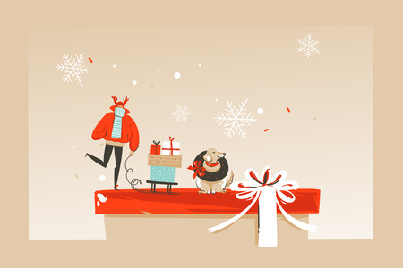 Illustration for Hand drawn vector abstract fun Merry Christmas time cartoon illustration greeting card with happy xmas market people,dog and copy space place for your text isolated on craft background. - Royalty Free Image