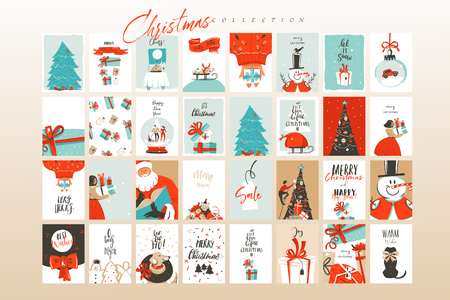 Illustration pour Hand drawn vector abstract fun Merry Christmas time cartoon illustrations greeting cards template and backgrounds big collection set with gift boxes,people and Xmas tree isolated on white background. - image libre de droit