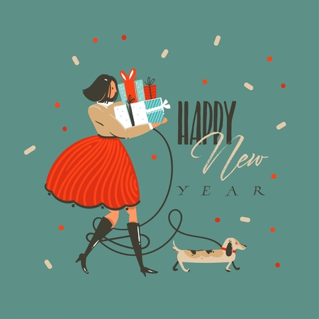 Illustration pour Hand drawn vector abstract fun Merry Christmas and Happy New Year time cartoon illustration greeting card with funny dog,girl with presents and Happy New Year text isolated on green background. - image libre de droit