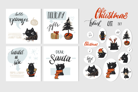Ilustración de Hand drawn vector abstract Merry Christmas and Happy New Year time cartoon illustration greeting cards collection set with xmas cats and Christmas stickers isolated on white background. - Imagen libre de derechos