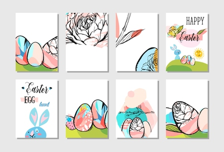 Ilustración de Hand drawn vector abstract creative Easter greeting card design collection set template with flowers,Easter eggs and bunny in pastel colors isolated on white background - Imagen libre de derechos