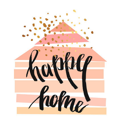 Ilustración de Hand drawn vector abstract illustration with geometric house in pastel colors,gold glitter and ink handwritten lettering phase Happy Home.Home decor poster. - Imagen libre de derechos
