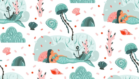 Ilustración de Hand drawn vector abstract cartoon graphic summer time underwater illustrations seamless pattern with jellyfish,fishes and beauty bohemian mermaid girls characters isolated on white background - Imagen libre de derechos