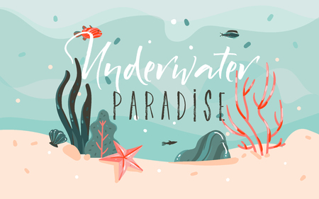 Ilustración de Hand drawn vector abstract cartoon summer time graphic illustrations template background with ocean bottom,corals reefs,seaweed and Underwater Paradise typography quote isolated on blue water waves. - Imagen libre de derechos