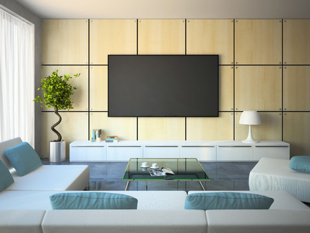 Foto de Modern interior with white sofas and blue pillows 3D - Imagen libre de derechos