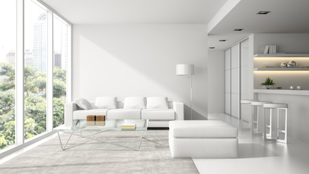 Photo pour Interior of the modern design  loft in white  3D rendering - image libre de droit
