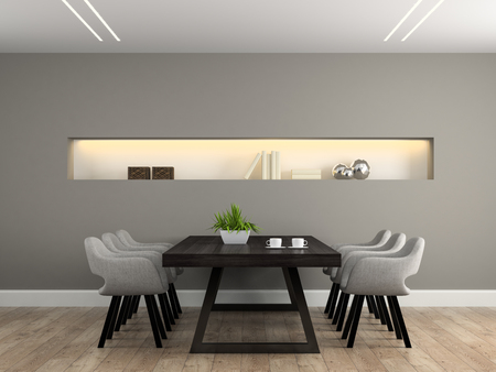 Photo pour Modern interior dining room with table 3D rendering - image libre de droit