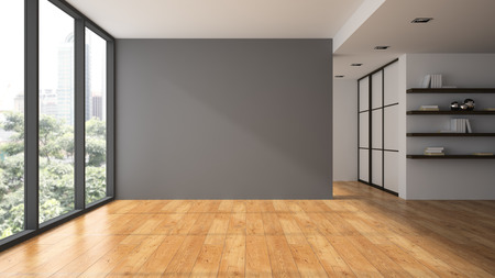 Foto de Empty room with book shelfs 3D rendering - Imagen libre de derechos