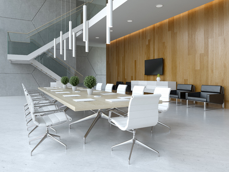 Photo pour Interior of reception and meeting room 3 D illustration - image libre de droit