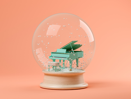 Foto de Snow globe with piano on a pink background 3 D illustration - Imagen libre de derechos
