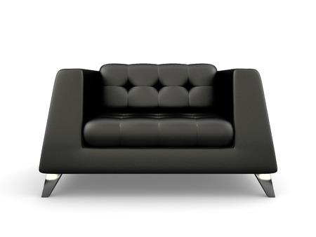 Foto de Black lather armchair isolated on white background 3D rendering - Imagen libre de derechos