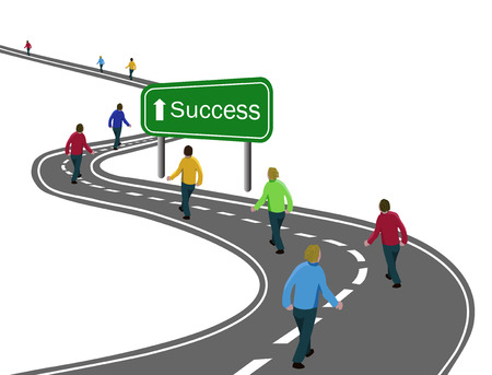 Ilustración de group of men walking on curved asphalt road highway to the green sign success with white arrow concept of way to success achieving goals, team cooperation, victory or journey - Imagen libre de derechos