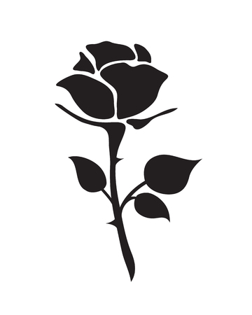Ilustración de simple flat black rose vector hand drawn romance flower icon illlustration vintage style isolated on white - Imagen libre de derechos