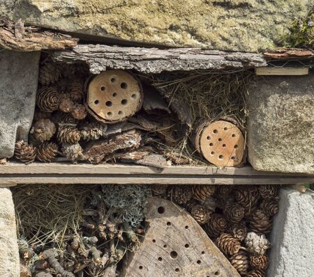 Foto de Home made insect hotel decorative bug house from sandstone and wood, ladybird and bee home for butterfly hibernation and ecological gardening. Protection for insects concept - Imagen libre de derechos