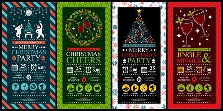Illustration pour Christmas Party Invitation Card Sets - image libre de droit