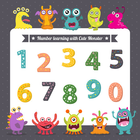 Illustration pour Learning number with cute monsters - image libre de droit