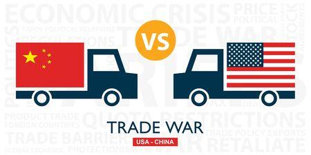 Illustration pour Trade war, USA versus China. America-China tariff business global exchange international. - image libre de droit
