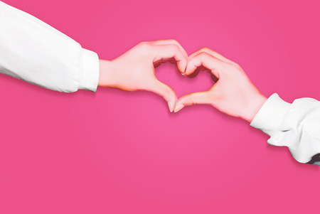 Photo pour Hands in form of heart isolated on pink background, arms wearing long white sleeves - image libre de droit