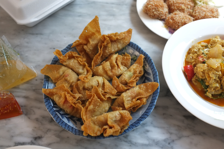 Photo for Deep Fried Pork Wonton or (Thai name is Giew Moo Tod) on dish - Royalty Free Image