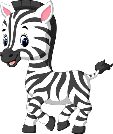 Illustration pour illustration of cute zebra cartoon - image libre de droit