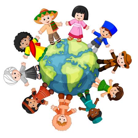 Illustration pour Different culture standing together holding hands - image libre de droit